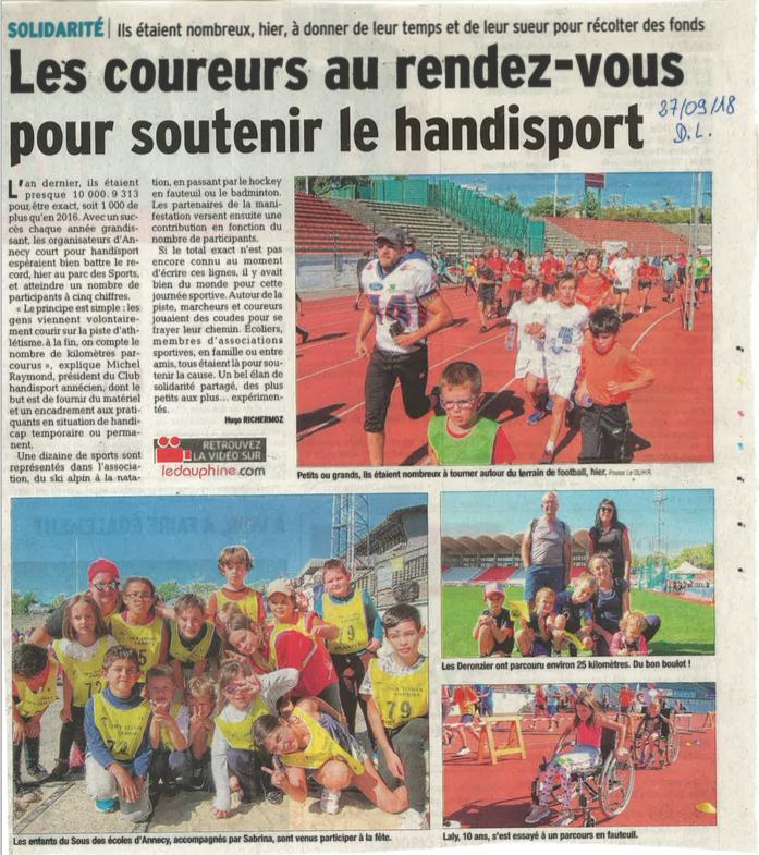 Article du Dauphiné Libéré du 27 septembre 2018