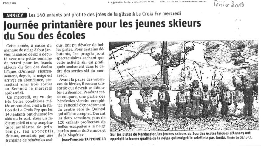 Article Dauphiné libéré février 2019