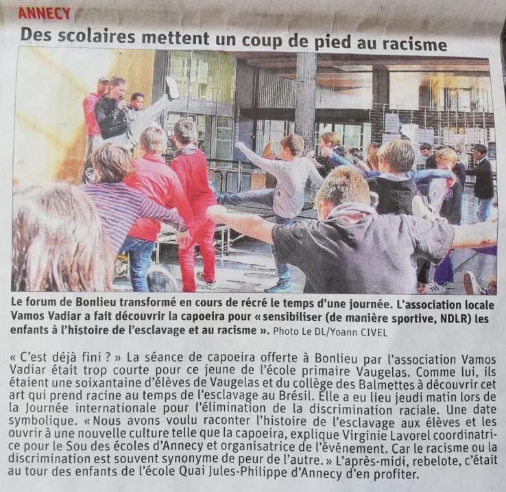 Journée internationale lutte contre le racisme, article du Dauphiné Libéré du 22 mars 2019
