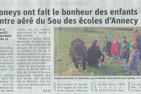 Article du Dauphiné Libéré du 31/10/19