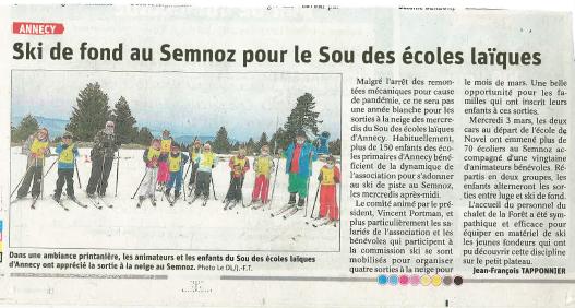 Article du dauphiné libéré/ ski 2021
