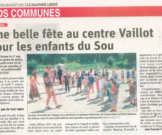 Article du 20 août / Dauphiné libéré