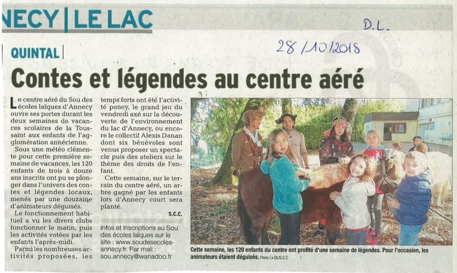 article du Dauphiné Libéré du 28/10/18