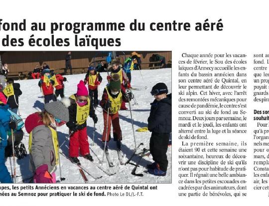 un article dans le Dauphiné Libéré du 19/02/2021